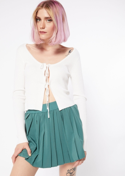 white double tied front cardigan - Main Image