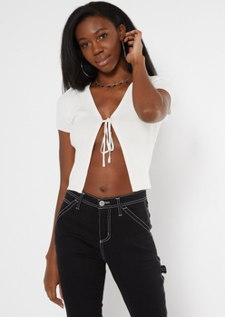 white ribbed knit tie front skimmer sweater - Main Image