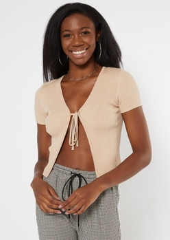 tan ribbed knit tie front skimmer sweater - Main Image