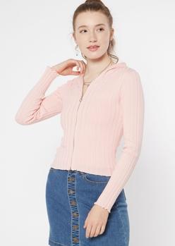 light pink ribbed knit zip up hoodie - Main Image