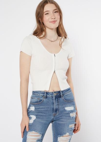 white double zip short sleeve cardigan - Main Image