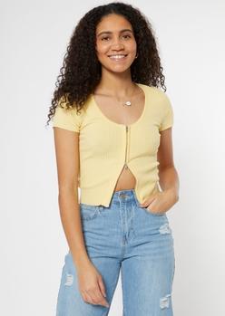 yellow double zip short sleeve cardigan - Main Image