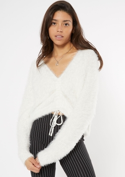 white fluffy knit ruched drawstring sweater - Main Image