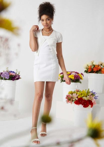 white ribbed knit cropped cardigan - Main Image