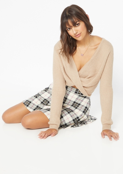 taupe reversible twist pullover sweater - Main Image
