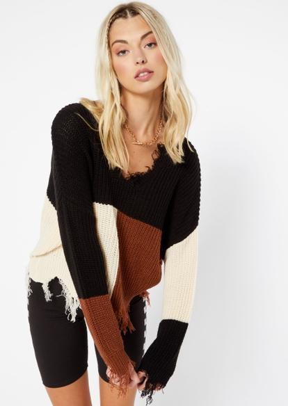black color block destructed hem crop sweater - Main Image