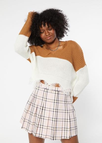 camel colorblock destructed hem crop sweater - Main Image