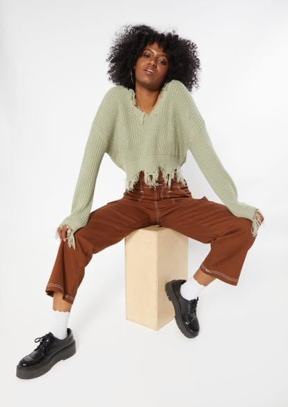 light green destructed hem crop sweater - Main Image