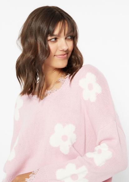 light pink daisy print destructed hem crop sweater - Main Image