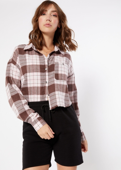 brown plaid cropped frayed flannel - Main Image
