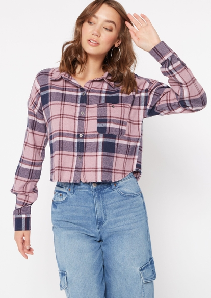 mauve taupe plaid cropped frayed flannel - Main Image