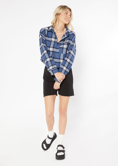 navy plaid cropped frayed flannel - Main Image