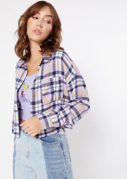 purple plaid cropped frayed flannel - Main Image