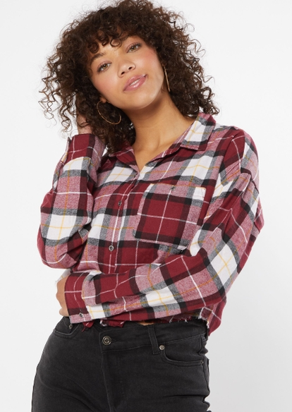 burgundy plaid cropped frayed flannel - Main Image