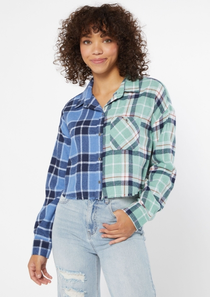 dark blue plaid contrast cropped frayed flannel - Main Image
