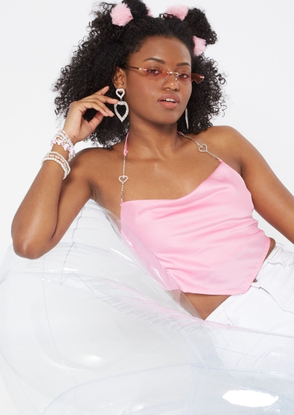 pink satin cowl neck rhinestone heart halter strap scarf top - Main Image