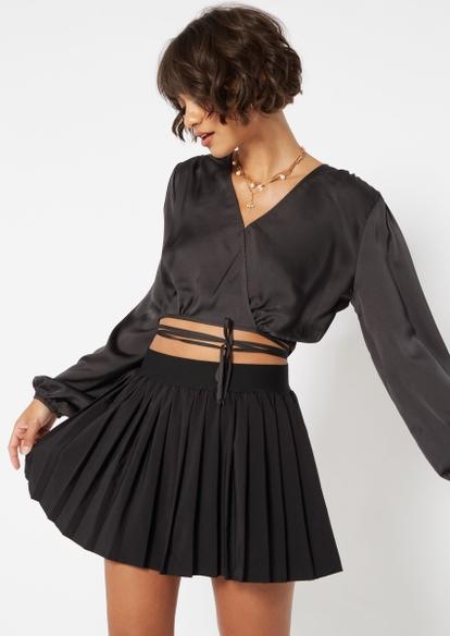 black puff sleeve wrap top blouse - Main Image
