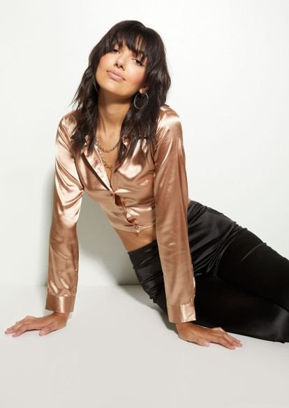 tan satin button down open tied back long sleeve top - Main Image