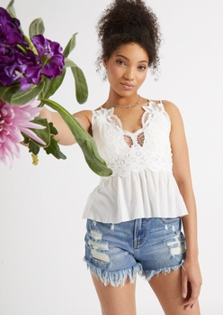 ivory crochet crisscross peplum top - Main Image