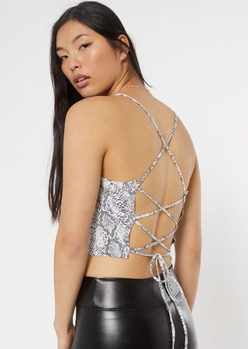 snakeskin print lace up back cropped cami - Main Image