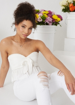 white crochet bow front tube top - Main Image