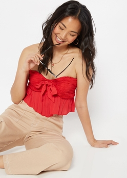 red crochet bow front tube top - Main Image