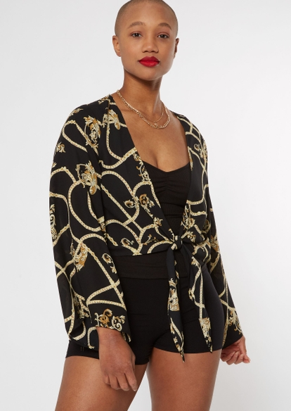 black chain print tie front top - Main Image