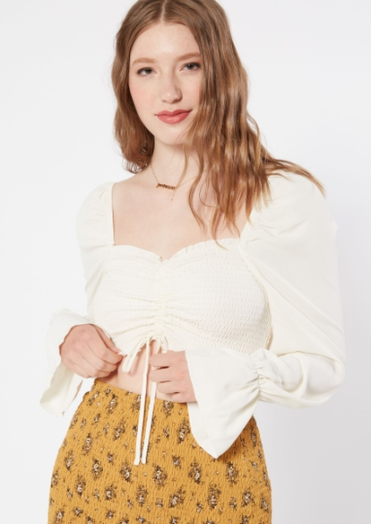 ivory bubble sleeve crop top - Main Image