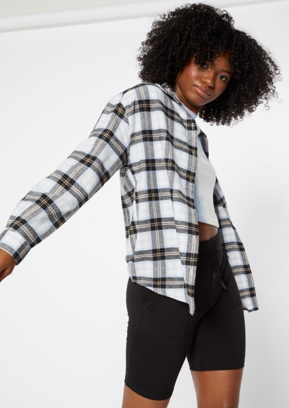 black plaid print oversized flannel - Main Image