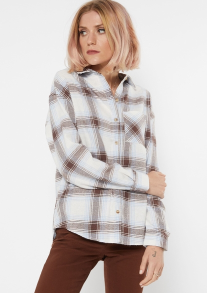white plaid print oversized flannel - Main Image