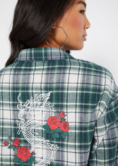 green dragon rose graphic flannel - Main Image