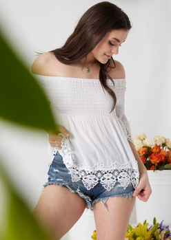 white off the shoulder crochet top - Main Image