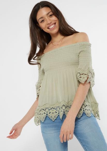 green off the shoulder crochet top - Main Image