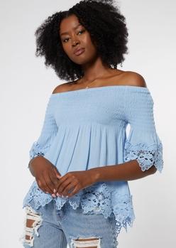 blue off the shoulder crochet top - Main Image