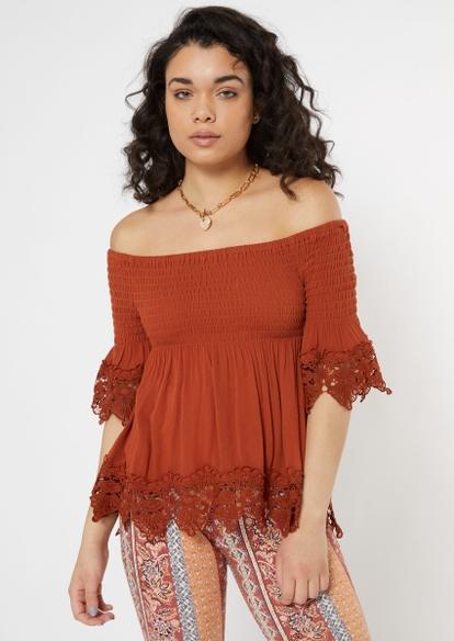 burnt orange off the shoulder crochet top - Main Image