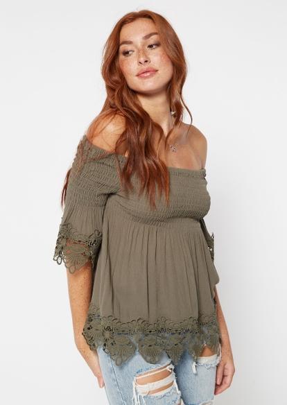 olive off the shoulder crochet top - Main Image