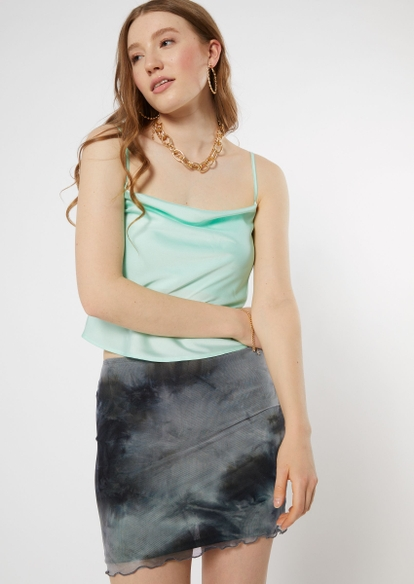 mint satin cowl neck cropped cami - Main Image