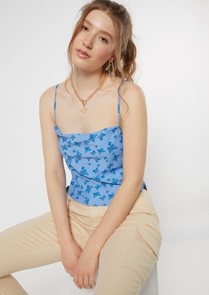 blue butterfly print satin cowl neck cropped cami - Main Image