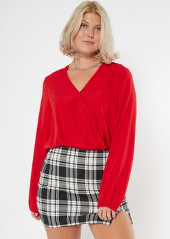 red surplice long sleeve bodysuit - Main Image