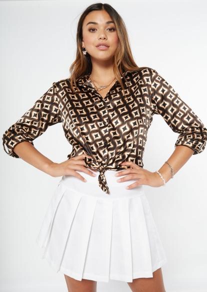 brown geometric print front tie satin top - Main Image
