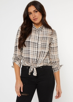 taupe plaid tie front button down shirt - Main Image