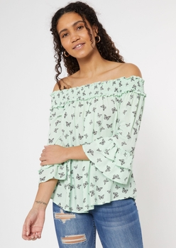 mint butterfly print off the shoulder ruffle sleeve top - Main Image