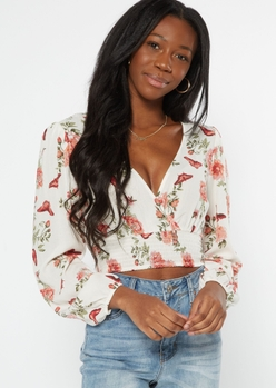 white butterfly print surplice smock top - Main Image