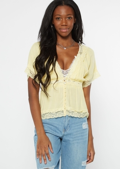 yellow challis lace trim top - Main Image