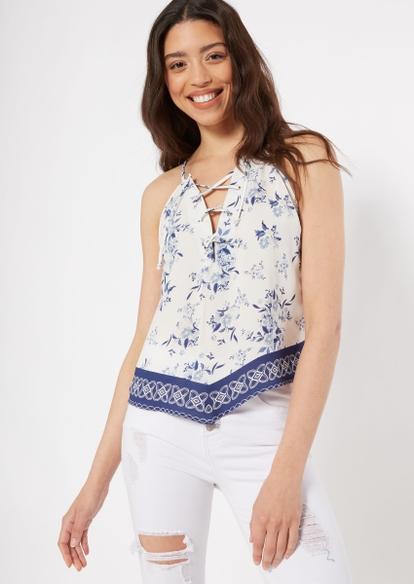 light blue floral print lace up hanky hem tank top - Main Image