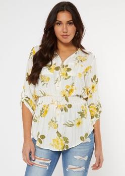 ivory foil floral print smocked waist top - Main Image