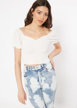 white puff sleeve ruched crop top - Main Image