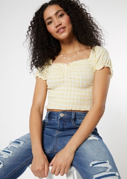 yellow gingham plaid print puff sleeve ruched crop top - Main Image