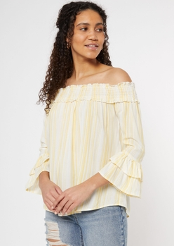 yellow striped off the shoulder ruffled blouse - Main Image