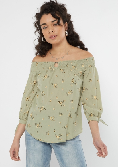 green floral off the shoulder o ring top - Main Image